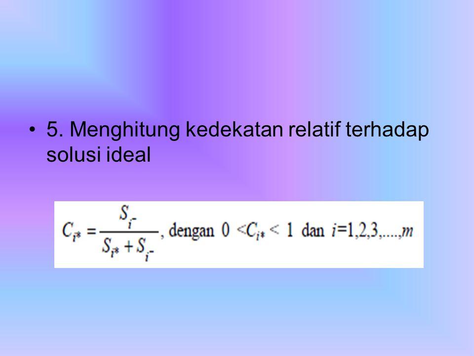 5. Menghitung kedekatan relatif terhadap solusi ideal