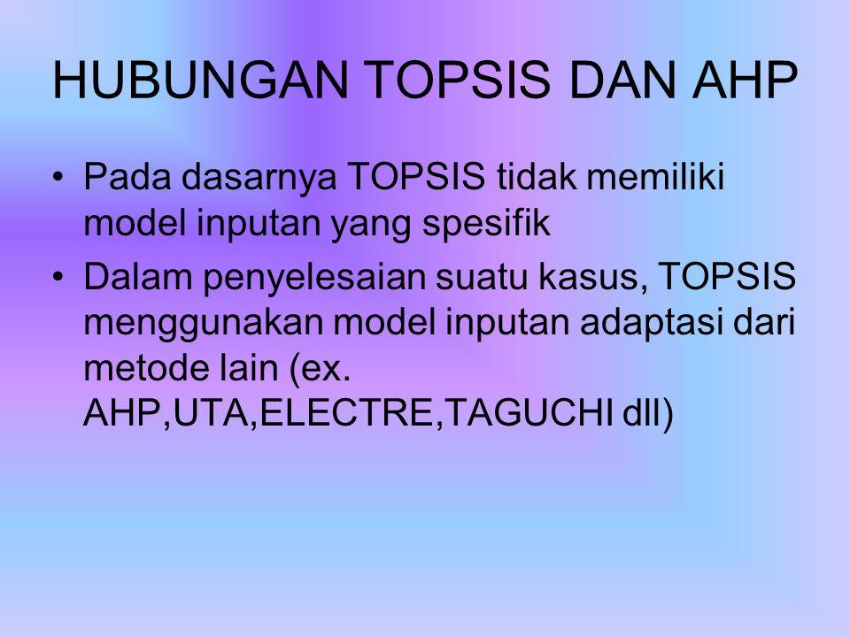 HUBUNGAN TOPSIS DAN AHP Pada dasarnya TOPSIS tidak memiliki model inputan yang spesifik Dalam penyelesaian suatu kasus, TOPSIS menggunakan model inputan adaptasi dari metode lain (ex.