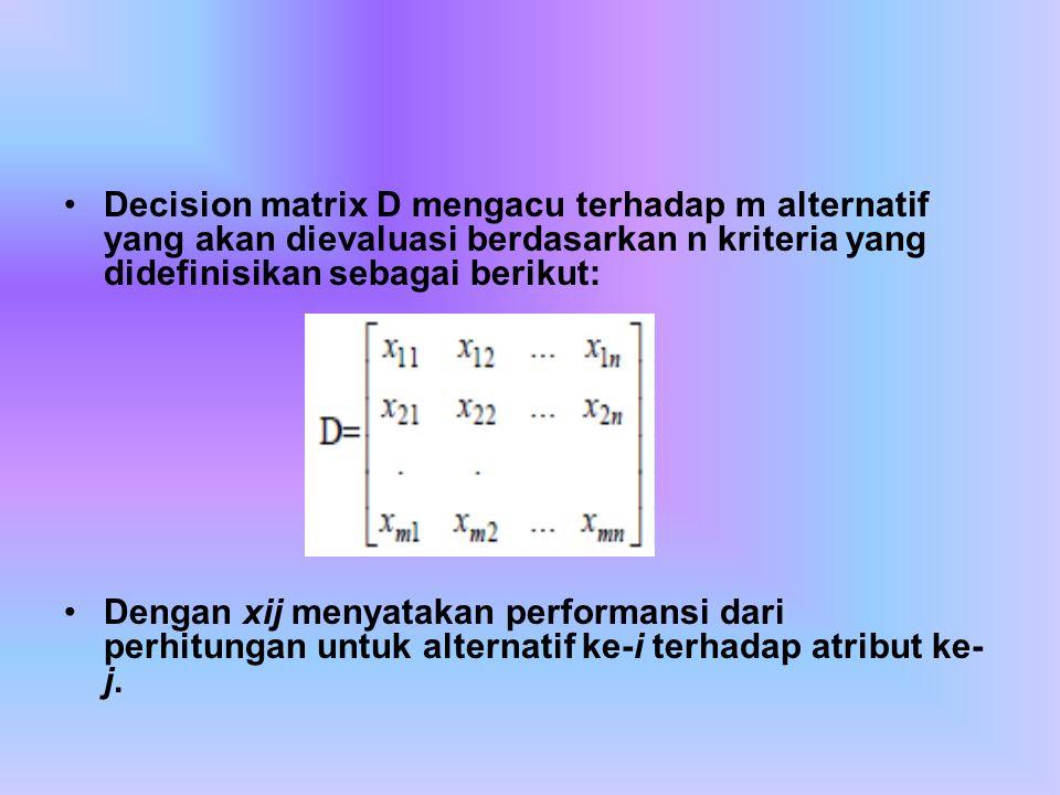 Decision matrix D mengacu terhadap m alternatif yang akan dievaluasi berdasarkan n kriteria yang didefinisikan sebagai berikut: Dengan xij menyatakan performansi dari perhitungan untuk alternatif ke-i terhadap atribut ke- j.