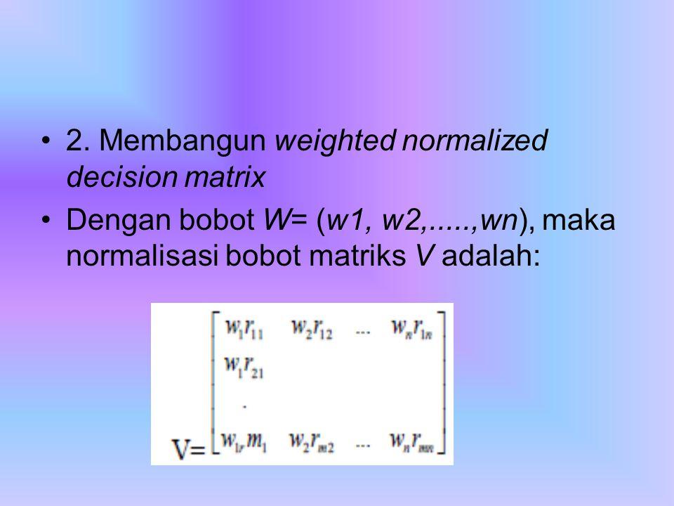 2. Membangun weighted normalized decision matrix Dengan bobot W= (w1, w2,.....,wn), maka normalisasi bobot matriks V adalah: