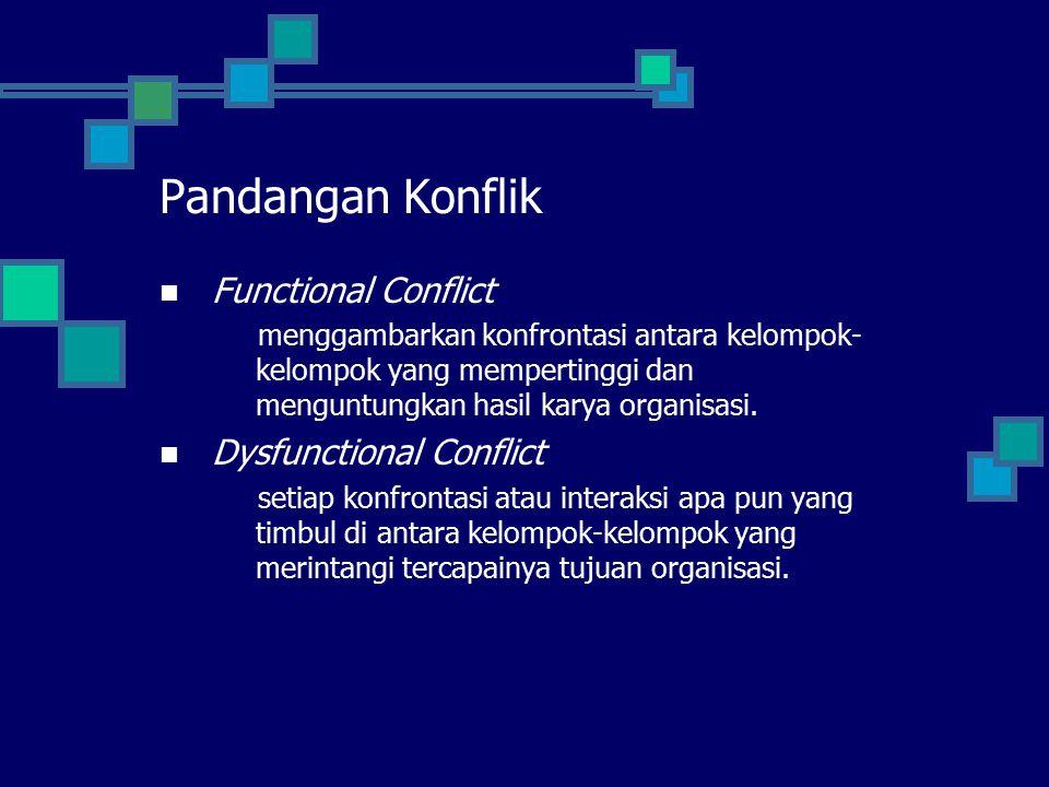 Functional Conflict menggambarkan konfrontasi antara kelompok- kelompok yang mempertinggi dan menguntungkan hasil karya organisasi.