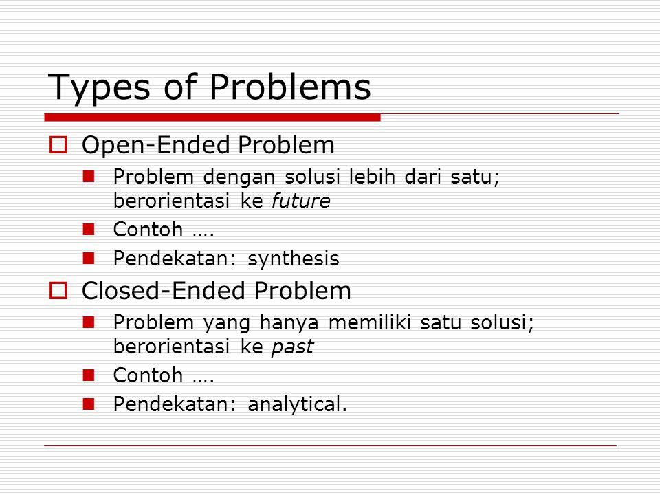 Types of Problems  Open-Ended Problem Problem dengan solusi lebih dari satu; berorientasi ke future Contoh …. Pendekatan: synthesis  Closed-Ended Pr