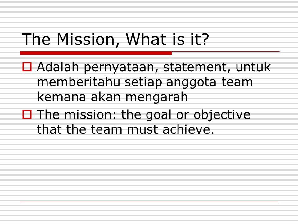The Mission, What is it?  Adalah pernyataan, statement, untuk memberitahu setiap anggota team kemana akan mengarah  The mission: the goal or objecti
