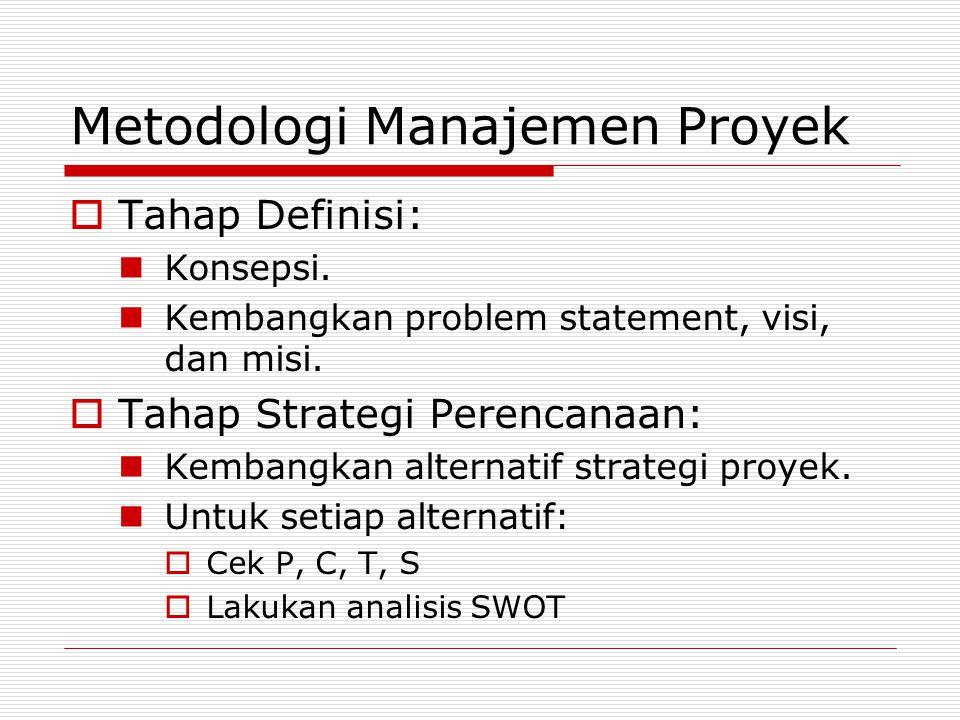 Metodologi Manajemen Proyek  Tahap Definisi: Konsepsi. Kembangkan problem statement, visi, dan misi.  Tahap Strategi Perencanaan: Kembangkan alterna