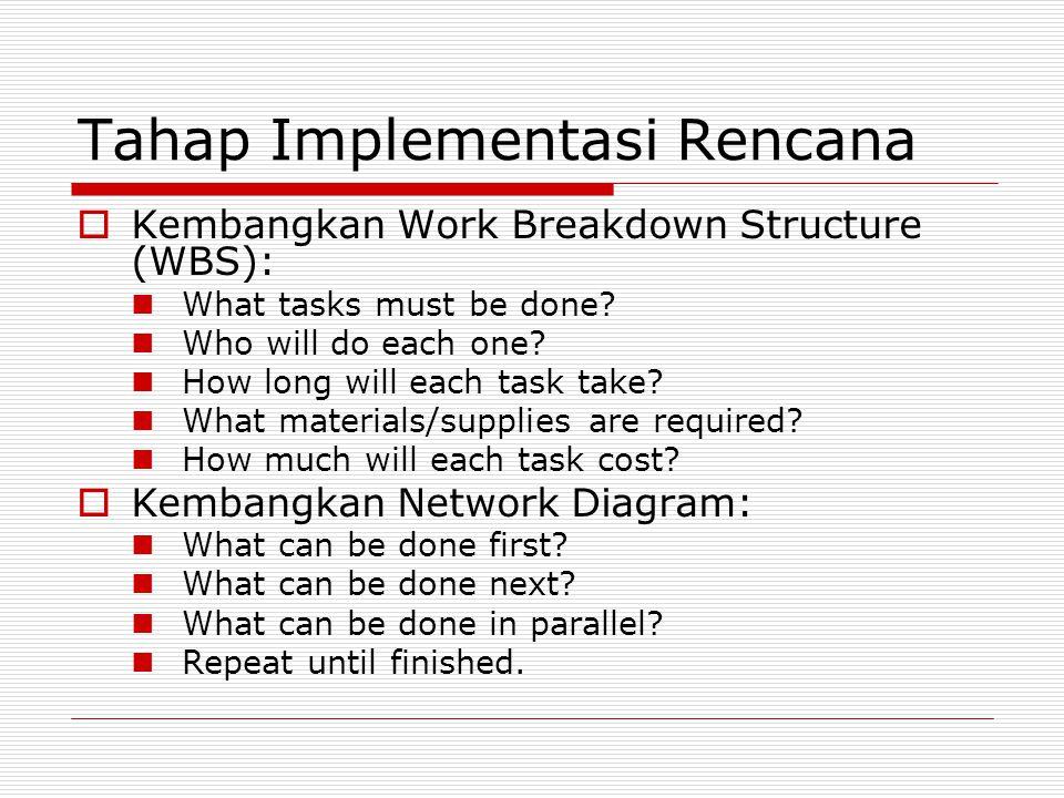 Tahap Implementasi Rencana  Lakukan perhitungan jalur kritis: Forward pass to find early times.