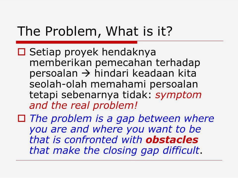 The Problem, What is it?  Setiap proyek hendaknya memberikan pemecahan terhadap persoalan  hindari keadaan kita seolah-olah memahami persoalan tetap