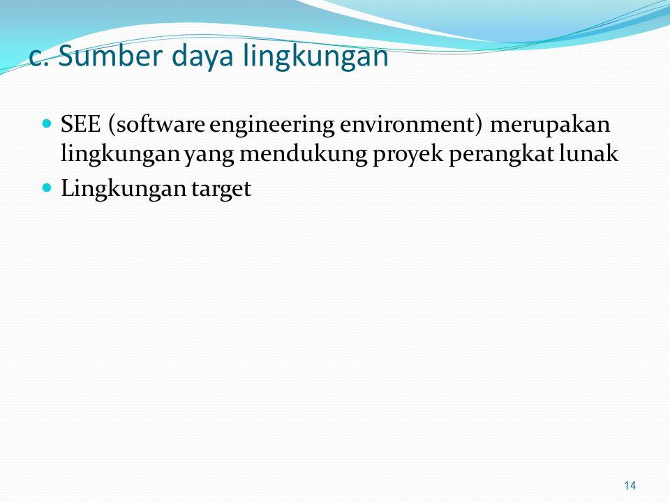 c. Sumber daya lingkungan SEE (software engineering environment) merupakan lingkungan yang mendukung proyek perangkat lunak Lingkungan target 14