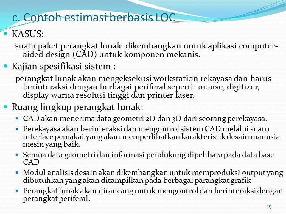 c. Contoh estimasi berbasis LOC KASUS: suatu paket perangkat lunak dikembangkan untuk aplikasi computer- aided design (CAD) untuk komponen mekanis. Ka