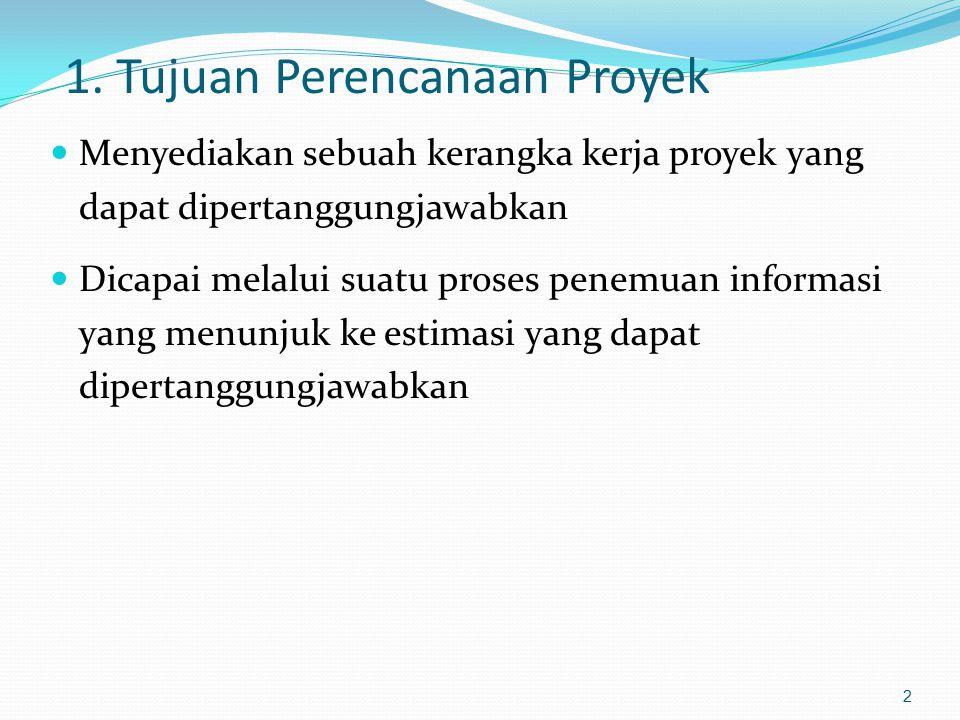1. Tujuan Perencanaan Proyek Menyediakan sebuah kerangka kerja proyek yang dapat dipertanggungjawabkan Dicapai melalui suatu proses penemuan informasi