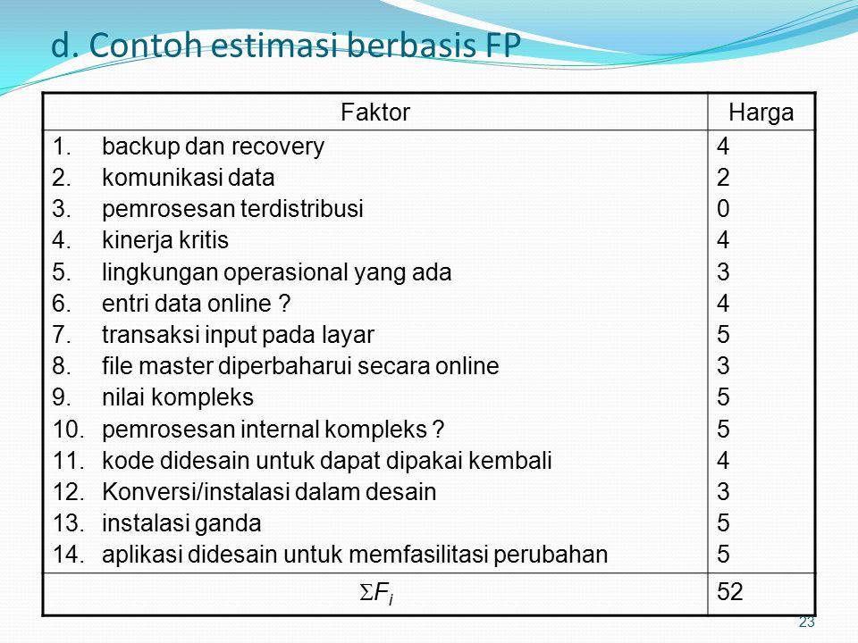 d. Contoh estimasi berbasis FP FaktorHarga 1.backup dan recovery 2.komunikasi data 3.pemrosesan terdistribusi 4.kinerja kritis 5.lingkungan operasiona