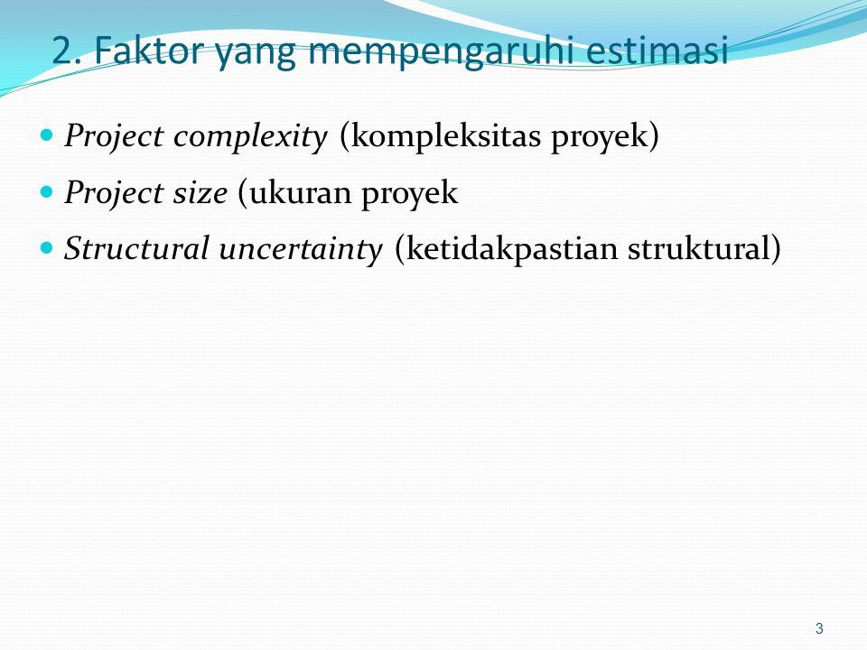 2. Faktor yang mempengaruhi estimasi Project complexity (kompleksitas proyek) Project size (ukuran proyek Structural uncertainty (ketidakpastian struk