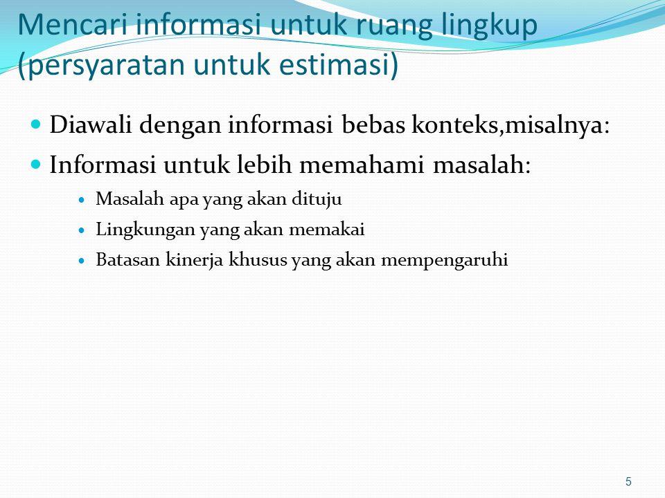 Mencari informasi untuk ruang lingkup (persyaratan untuk estimasi) Diawali dengan informasi bebas konteks,misalnya: Informasi untuk lebih memahami mas