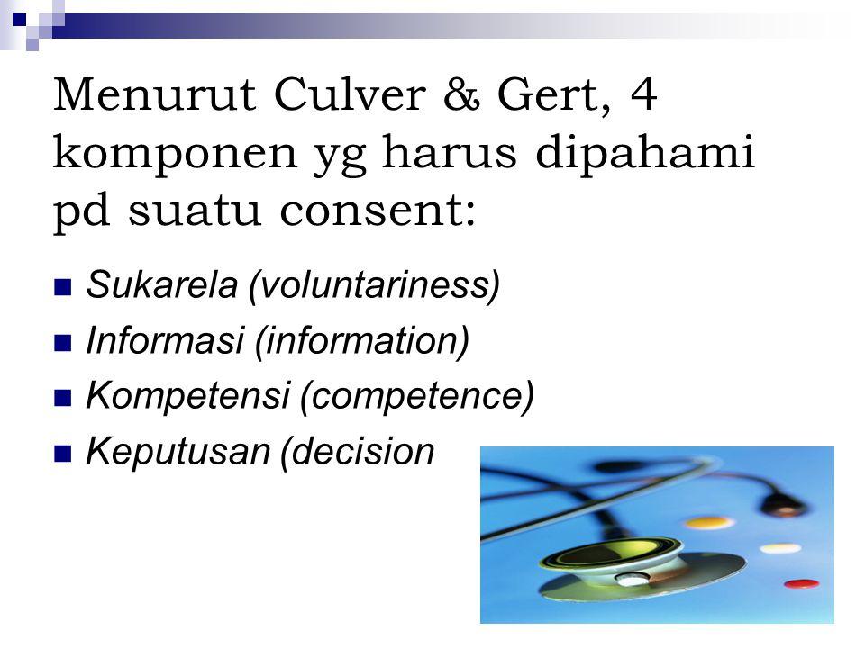 Menurut Culver & Gert, 4 komponen yg harus dipahami pd suatu consent: Sukarela (voluntariness) Informasi (information) Kompetensi (competence) Keputusan (decision
