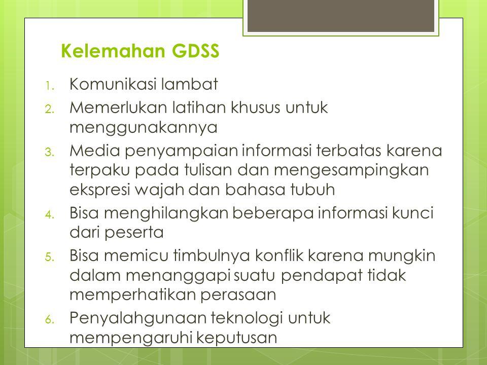 Kelemahan GDSS 1. Komunikasi lambat 2. Memerlukan latihan khusus untuk menggunakannya 3. Media penyampaian informasi terbatas karena terpaku pada tuli