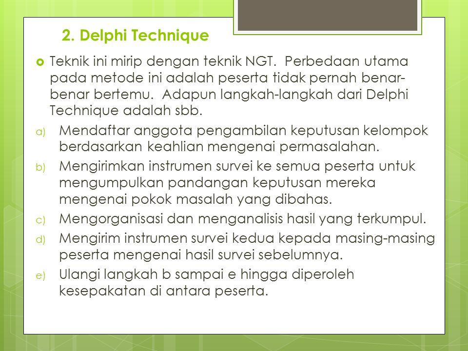 2. Delphi Technique  Teknik ini mirip dengan teknik NGT. Perbedaan utama pada metode ini adalah peserta tidak pernah benar- benar bertemu. Adapun lan