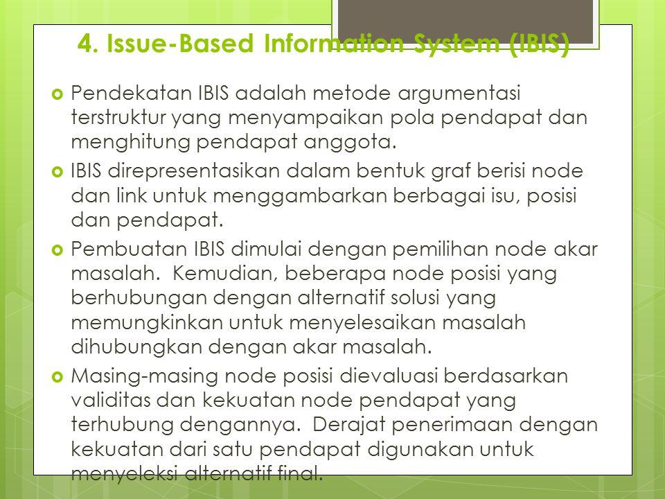 4. Issue-Based Information System (IBIS)  Pendekatan IBIS adalah metode argumentasi terstruktur yang menyampaikan pola pendapat dan menghitung pendap