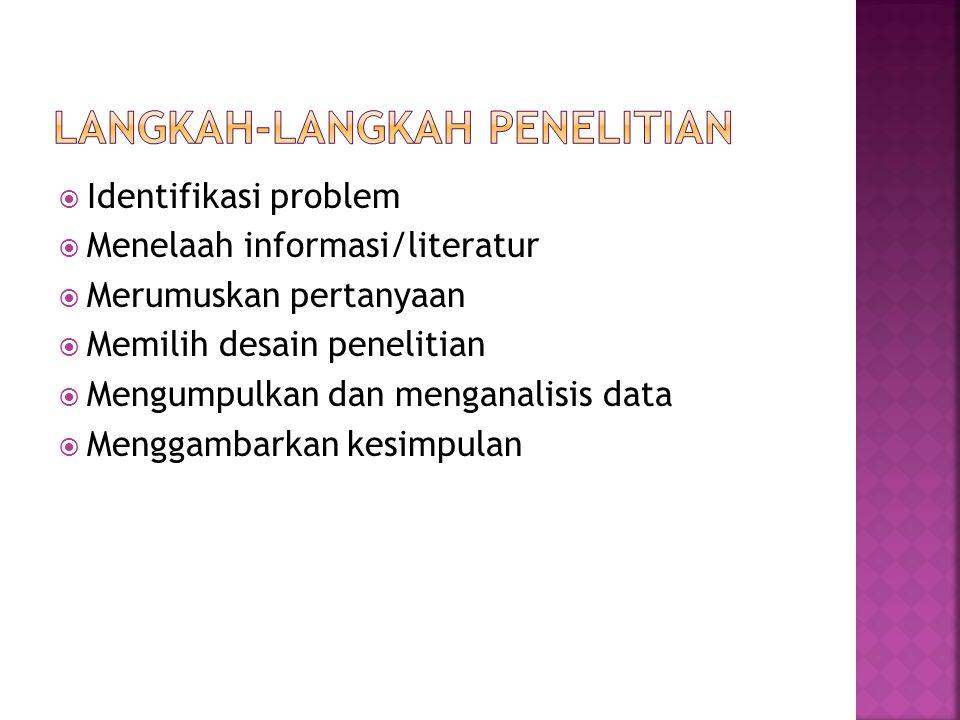  Identifikasi problem  Menelaah informasi/literatur  Merumuskan pertanyaan  Memilih desain penelitian  Mengumpulkan dan menganalisis data  Mengg