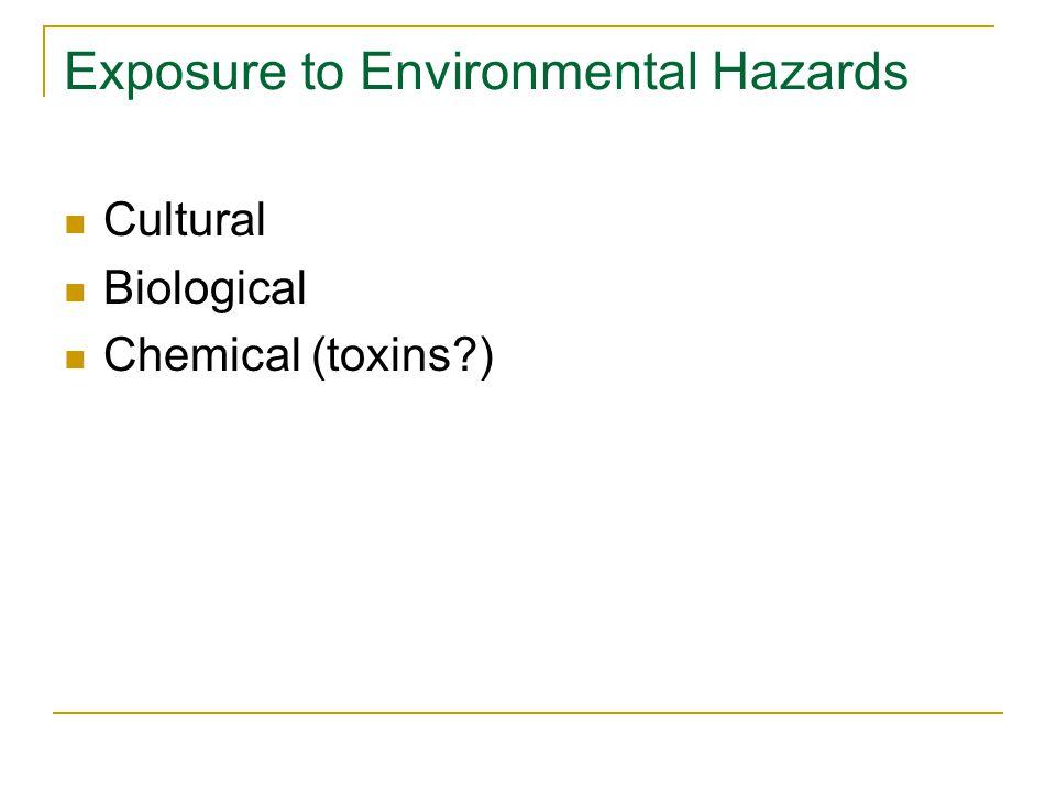 Cultural Hazards Consequence of choice (e.g., risky behaviors)