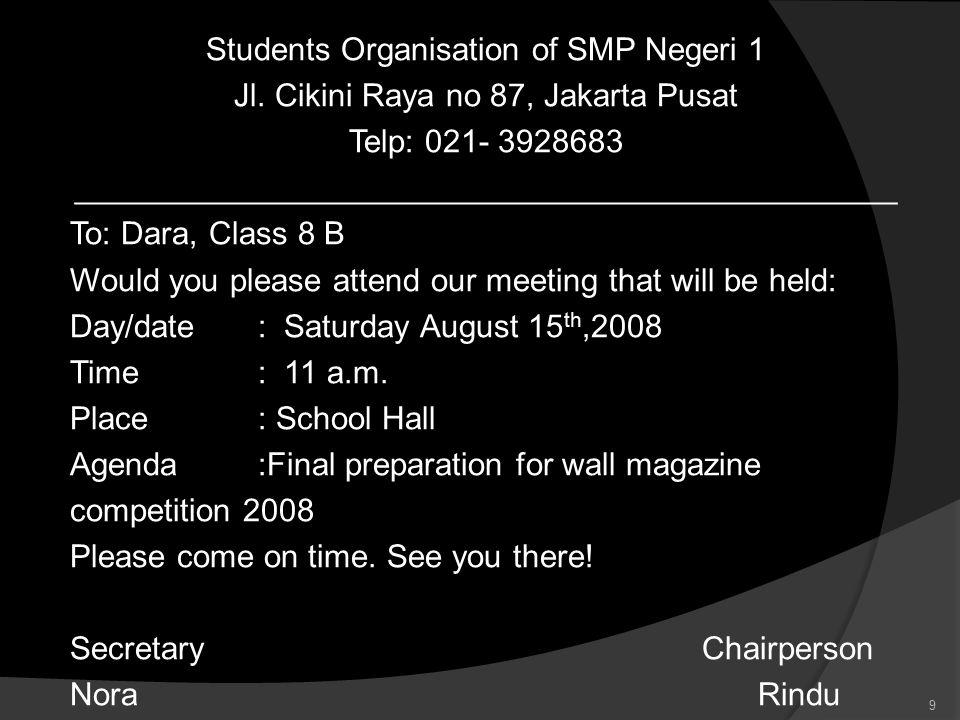 Students Organisation of SMP Negeri 1 Jl.