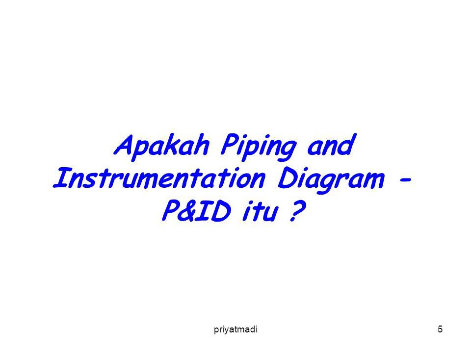 priyatmadi6 Piping and Instrumentation Diagram - P&ID, merupakan ilustrasi skematik dari hubungan fungsi antara piping, instrumentation dan system equipment components.