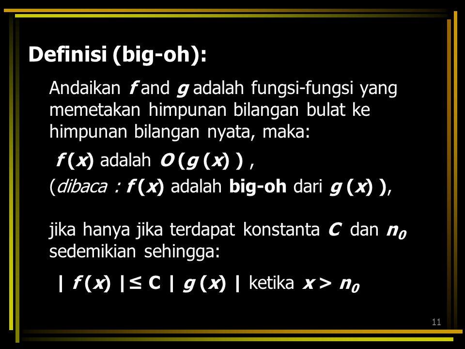 10 Dalam hal ini, dapat dikatakan bahwa fungsi g mendominasi fungsi f, atau fungsi f didominasi fungsi g f memunyai orde paling banyak g, dan ditulis