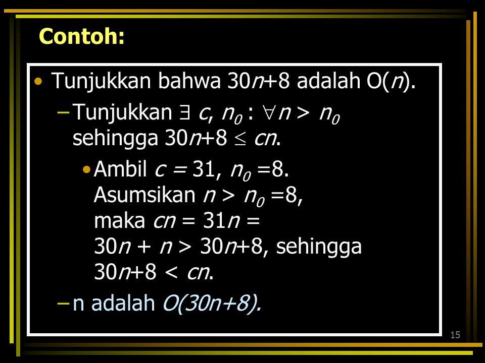 14 f(n) = 100 n 2, g(n) = n 4, Gunakan metode kontradiksi. Andaikan g = O(f), berarti |g(n)| ≤ c |f(n)| untuk n ≥ n 0 Sehingga n 4 ≤ c n 2 jjk n 2 ≤ c