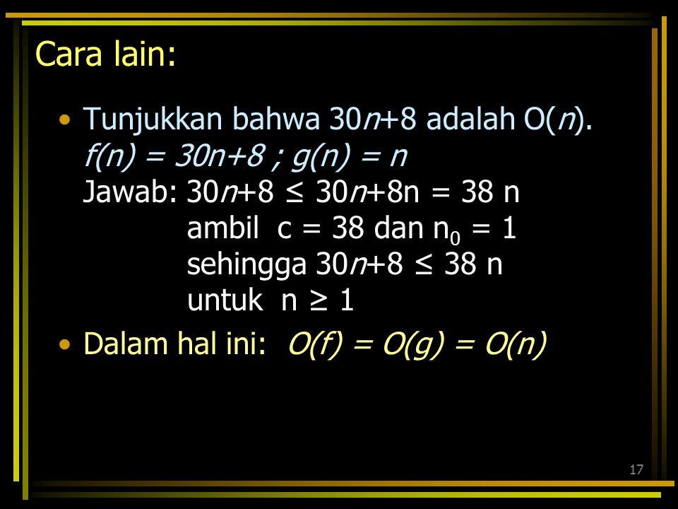 16 30n+8 tidak lebih kecil dr sembarang n (n>0). Tidak juga lebih kecil dr 31n di semua n. Tetapi lebih kecil dari 31n untuk n>8. n>k=8  Interpretasi