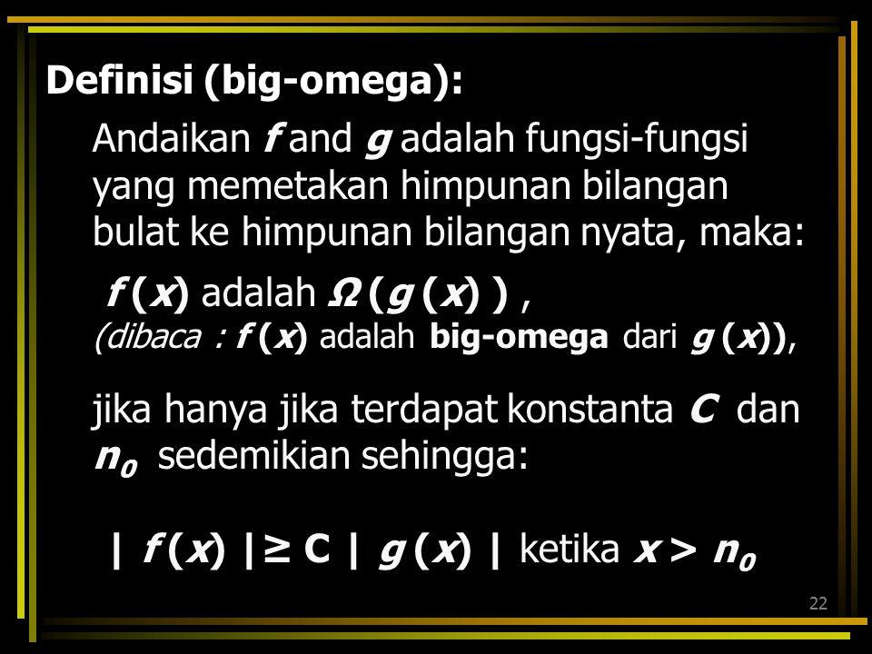 21  f,g & konstanta a,b  R, dengan b  0, –af = O(f); (e.g. 3x 2 = O(x 2 )) –f+ O(f) = O(f); (e.g. x 2 +x = O(x 2 )) Jika f=  (1) (sedikitnya orde