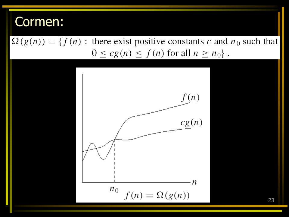 22 Definisi (big-omega): Andaikan f and g adalah fungsi-fungsi yang memetakan himpunan bilangan bulat ke himpunan bilangan nyata, maka: f (x) adalah Ω