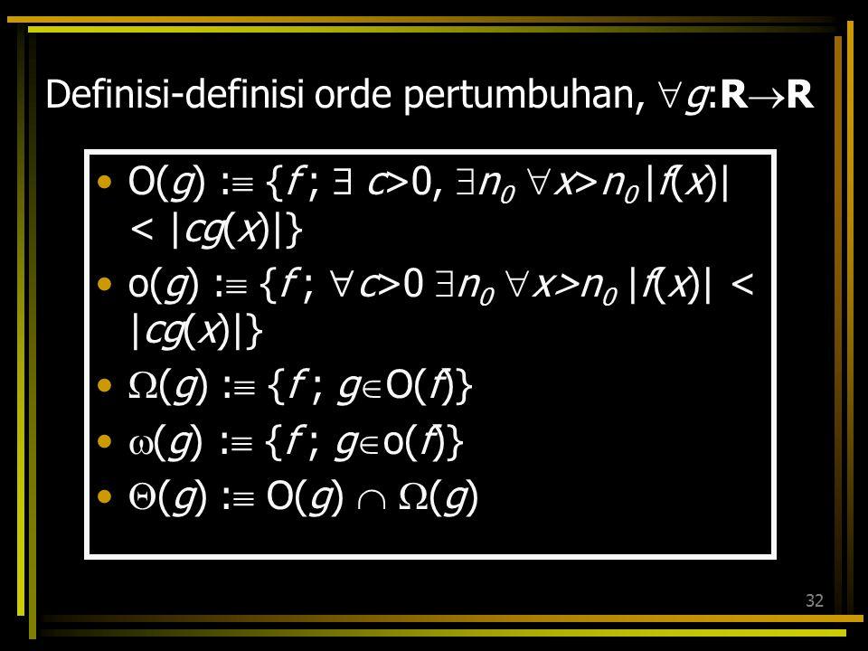 31 Hubungan antar notasi asimtotik RRRR  ( f ) O( f )  ( f )  ( f ) o( f ) f