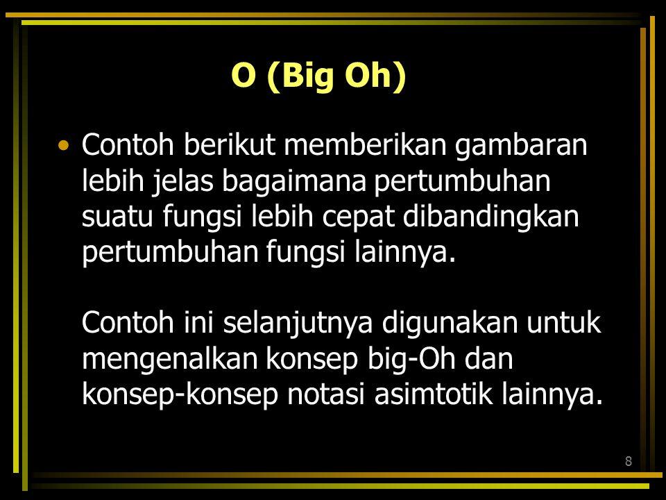 8 O (Big Oh) Contoh berikut memberikan gambaran lebih jelas bagaimana pertumbuhan suatu fungsi lebih cepat dibandingkan pertumbuhan fungsi lainnya.