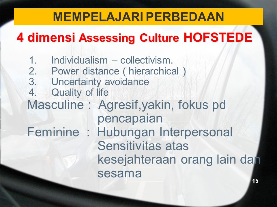MEMPELAJARI PERBEDAAN 4 dimensi Assessing Culture HOFSTEDE 1.Individualism – collectivism. 2.Power distance ( hierarchical ) 3.Uncertainty avoidance 4