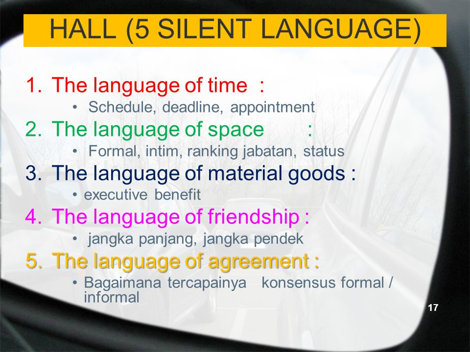 HALL (5 SILENT LANGUAGE) 1.The language of time : Schedule, deadline, appointment 2.The language of space: Formal, intim, ranking jabatan, status 3.Th