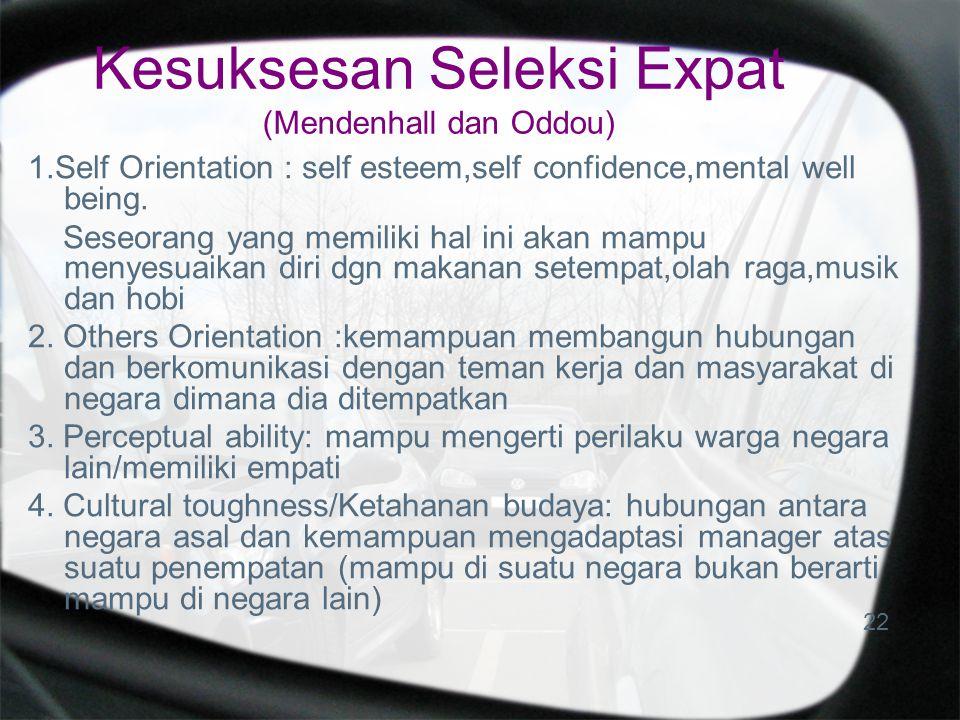 Kesuksesan Seleksi Expat (Mendenhall dan Oddou) 1.Self Orientation : self esteem,self confidence,mental well being. Seseorang yang memiliki hal ini ak