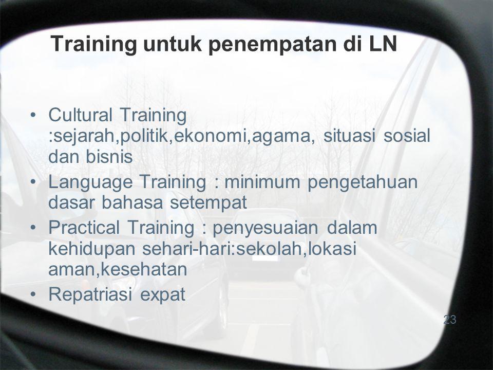 Training untuk penempatan di LN Cultural Training :sejarah,politik,ekonomi,agama, situasi sosial dan bisnis Language Training : minimum pengetahuan da