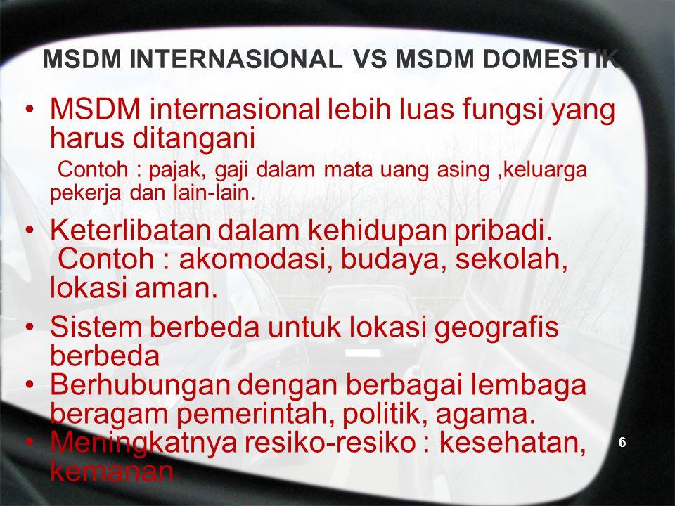 MSDM INTERNASIONAL VS MSDM DOMESTIK MSDM internasional lebih luas fungsi yang harus ditangani Contoh : pajak, gaji dalam mata uang asing,keluarga pekerja dan lain-lain.