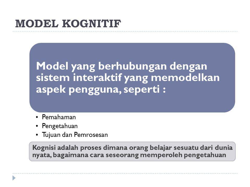 MODEL KOGNITIF Model yang berhubungan dengan sistem interaktif yang memodelkan aspek pengguna, seperti : Pemahaman Pengetahuan Tujuan dan Pemrosesan K
