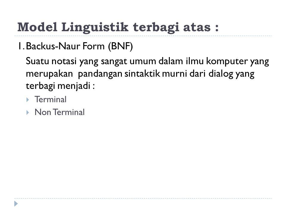 Model Linguistik terbagi atas : 1.Backus-Naur Form (BNF) Suatu notasi yang sangat umum dalam ilmu komputer yang merupakan pandangan sintaktik murni da