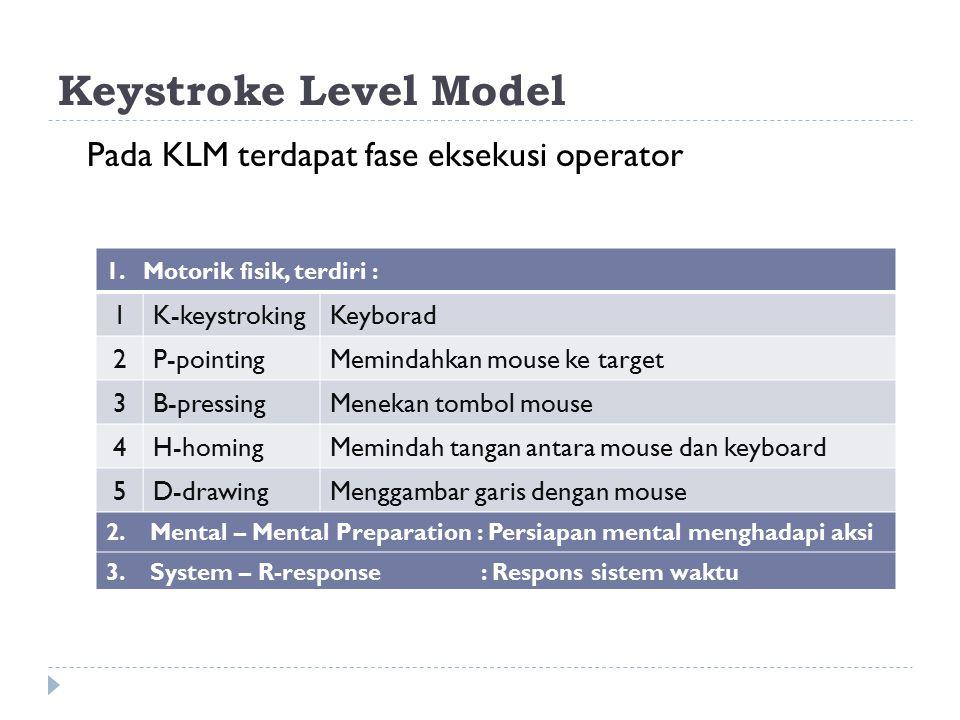 Keystroke Level Model Pada KLM terdapat fase eksekusi operator 1. Motorik fisik, terdiri : 1K-keystrokingKeyborad 2P-pointingMemindahkan mouse ke targ