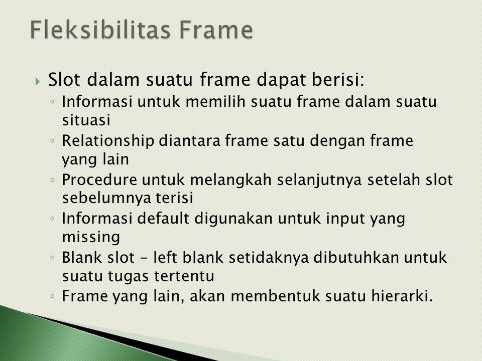  Slot dalam suatu frame dapat berisi: ◦ Informasi untuk memilih suatu frame dalam suatu situasi ◦ Relationship diantara frame satu dengan frame yang lain ◦ Procedure untuk melangkah selanjutnya setelah slot sebelumnya terisi ◦ Informasi default digunakan untuk input yang missing ◦ Blank slot - left blank setidaknya dibutuhkan untuk suatu tugas tertentu ◦ Frame yang lain, akan membentuk suatu hierarki.