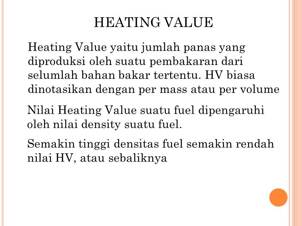 HEATING VALUE Heating Value yaitu jumlah panas yang diproduksi oleh suatu pembakaran dari selumlah bahan bakar tertentu. HV biasa dinotasikan dengan p