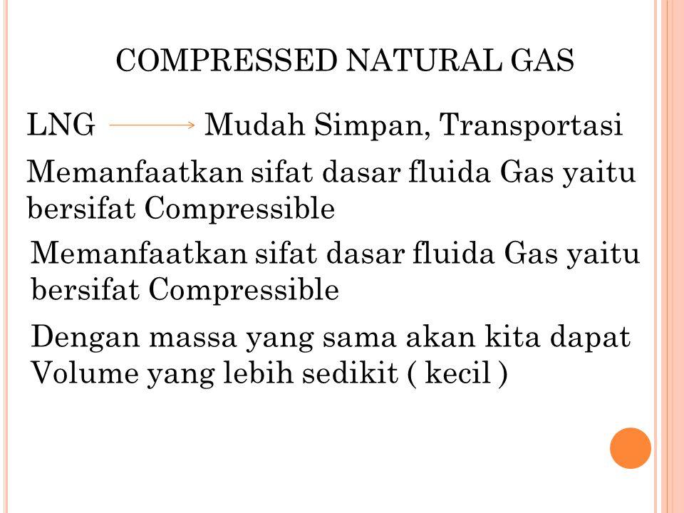 COMPRESSED NATURAL GAS LNG Mudah Simpan, Transportasi Memanfaatkan sifat dasar fluida Gas yaitu bersifat Compressible Dengan massa yang sama akan kita