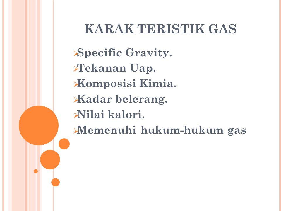 CONTOH KOMPOSISI KIMIA SUATU GAS ALAM ComponentMol Real Sg at 14,7 psia 60 0 F Real SG (Fraksi) BTU/SCF Perfect gas at 14,7 psia 60 0 F BTU/SCF Perfect Gas Compressibility at 14,7 psia 60 0 F Compressibility (Z) 123 = 1x245 = 1x467 = 1x6 N2N2 0,00580,9670380,00560980,9997190,0057984 CO 2 0,01601,5275180,02444020,9943070,0159089 CH 4 0,95150,5547150,52781131012,1963,0120,9980960,9496883 C2H6C2H6 0,02391,0465570,02501271773,042,37470,9915810,0236987 C3H8C3H8 0,00241,5497940,00371952523,36,05590,9819580,0023567 i C 4 H 10 0,00022,0674670,00041353260,70,65210,9702310,0001940 n C 4 H 10 0,00022,0751840,00041503269,80,65390,9666230,0001993 I C 5 H 12 trace2,4900184009,7 n C 5 H 12 trace2,4900184018,9 C6H4C6H4 nil2,9741134764,4 TOTAL1,00000,59741012,74990,9978