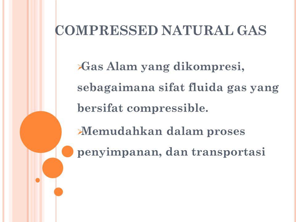 COMPRESSED NATURAL GAS  Gas Alam yang dikompresi, sebagaimana sifat fluida gas yang bersifat compressible.  Memudahkan dalam proses penyimpanan, dan