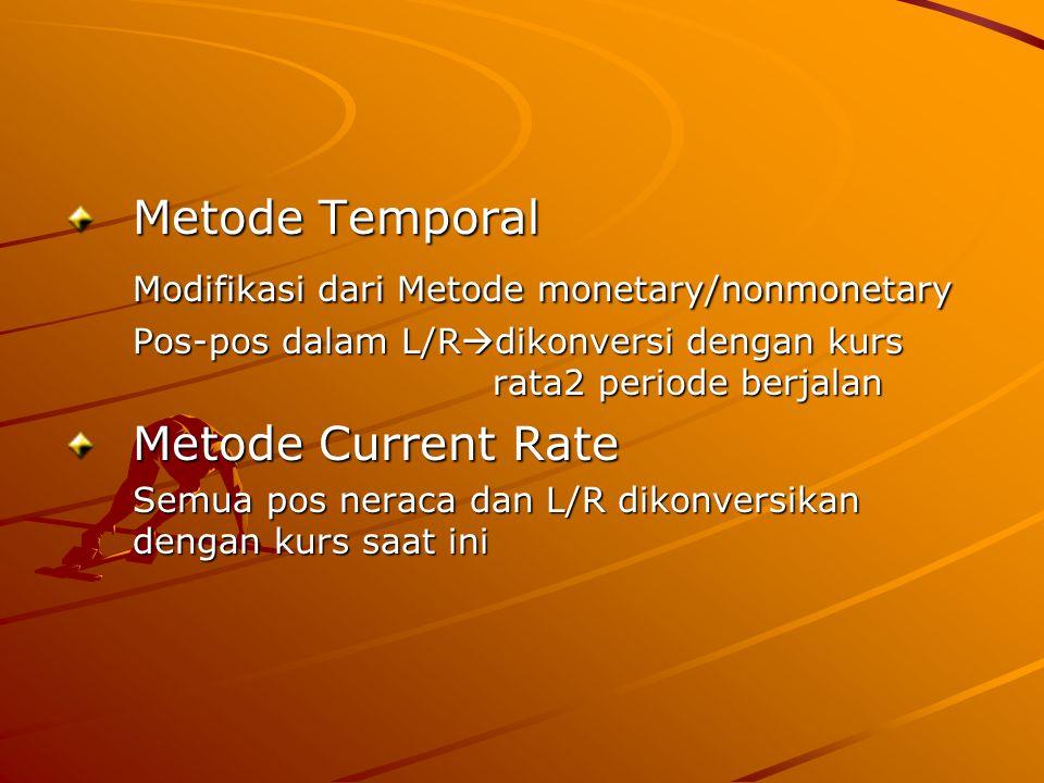 Metode Temporal Modifikasi dari Metode monetary/nonmonetary Pos-pos dalam L/Rdikonversi dengan kurs rata2 periode berjalan Metode Current Rate Semua