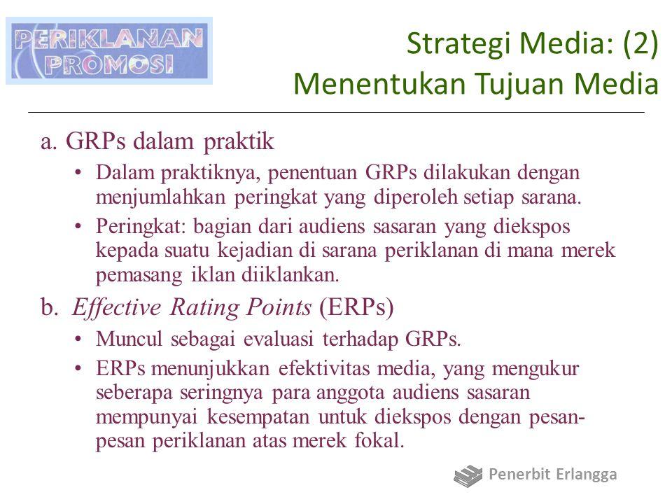 Strategi Media: (2) Menentukan Tujuan Media a.GRPs dalam praktik Dalam praktiknya, penentuan GRPs dilakukan dengan menjumlahkan peringkat yang diperoleh setiap sarana.