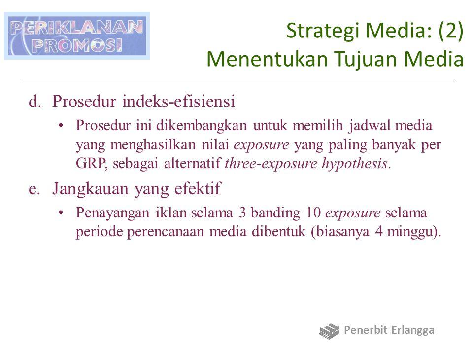 Strategi Media: (2) Menentukan Tujuan Media d.Prosedur indeks-efisiensi Prosedur ini dikembangkan untuk memilih jadwal media yang menghasilkan nilai exposure yang paling banyak per GRP, sebagai alternatif three-exposure hypothesis.
