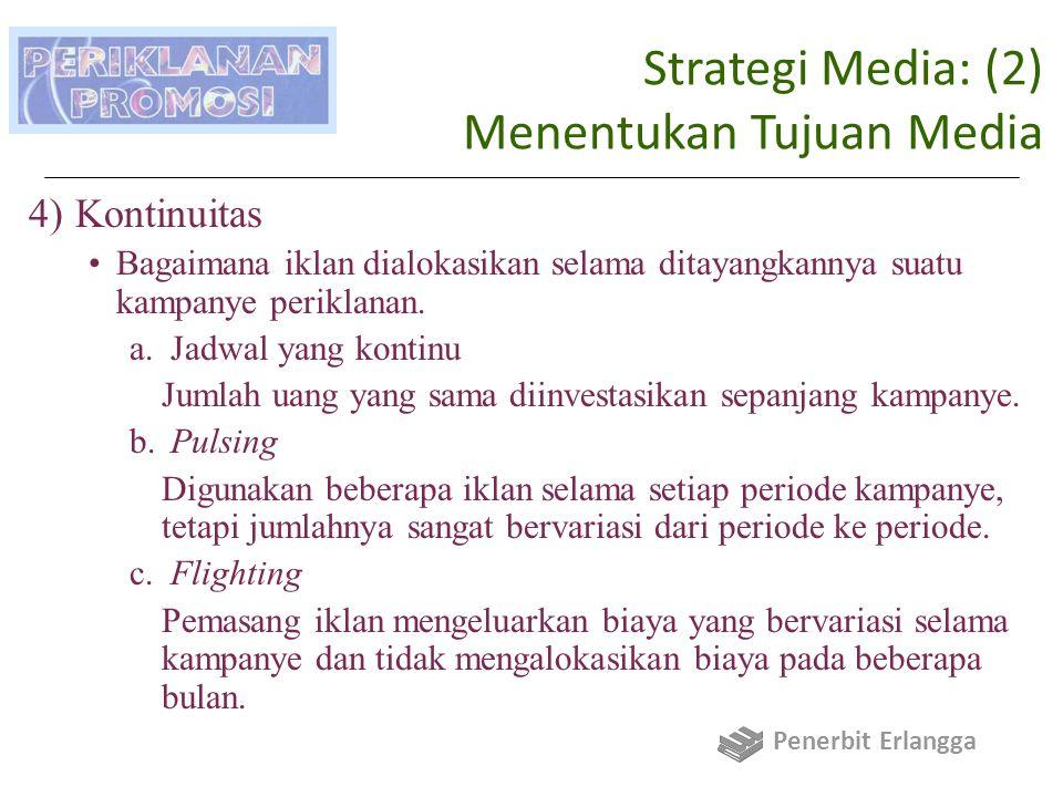 Strategi Media: (2) Menentukan Tujuan Media 4)Kontinuitas Bagaimana iklan dialokasikan selama ditayangkannya suatu kampanye periklanan.