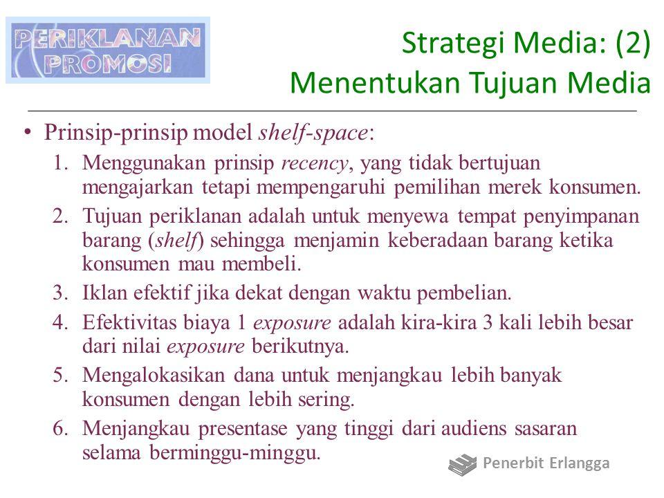 Strategi Media: (2) Menentukan Tujuan Media Prinsip-prinsip model shelf-space: 1.Menggunakan prinsip recency, yang tidak bertujuan mengajarkan tetapi mempengaruhi pemilihan merek konsumen.