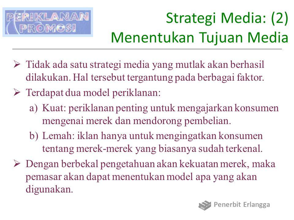 Strategi Media: (2) Menentukan Tujuan Media  Tidak ada satu strategi media yang mutlak akan berhasil dilakukan.
